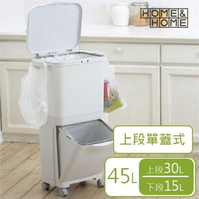 日本 RISU H&H直立雙層分類附輪(單蓋)式垃圾桶 45L (6.3折)