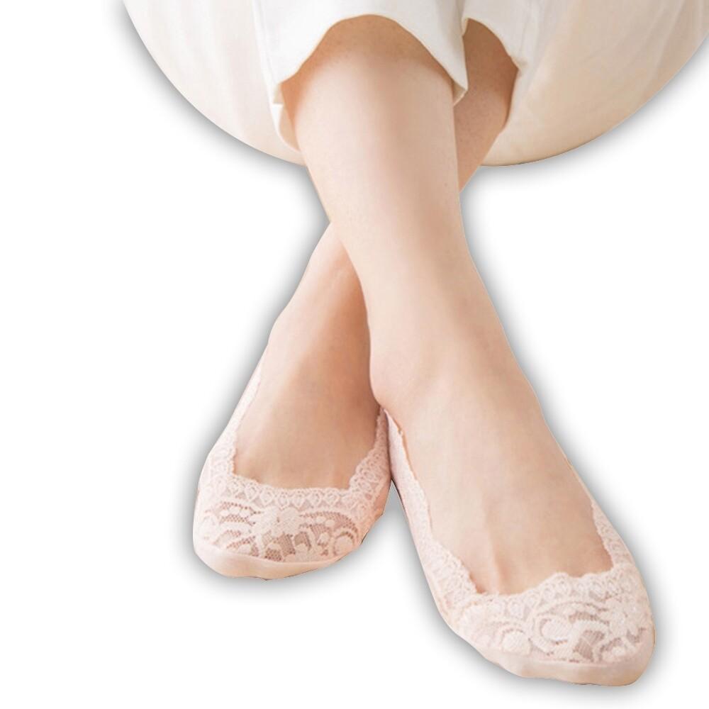amiss360全包覆防滑蕾絲隱形襪/4入組(c001)