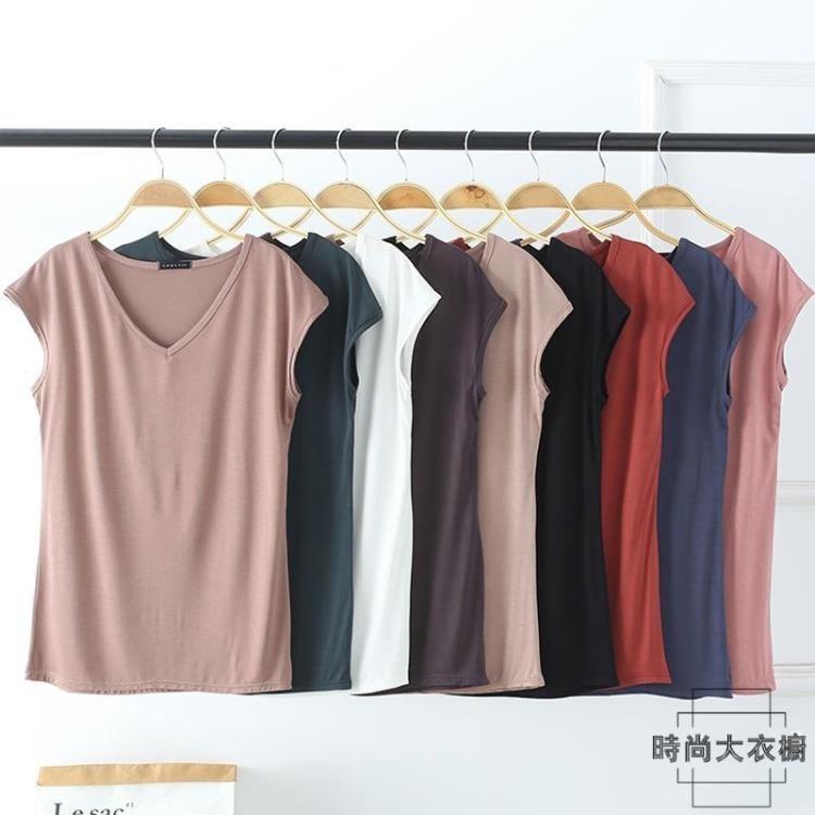 alb-莫代爾純色v領無袖寬鬆女士t恤休閒打底上衣夏季韓版