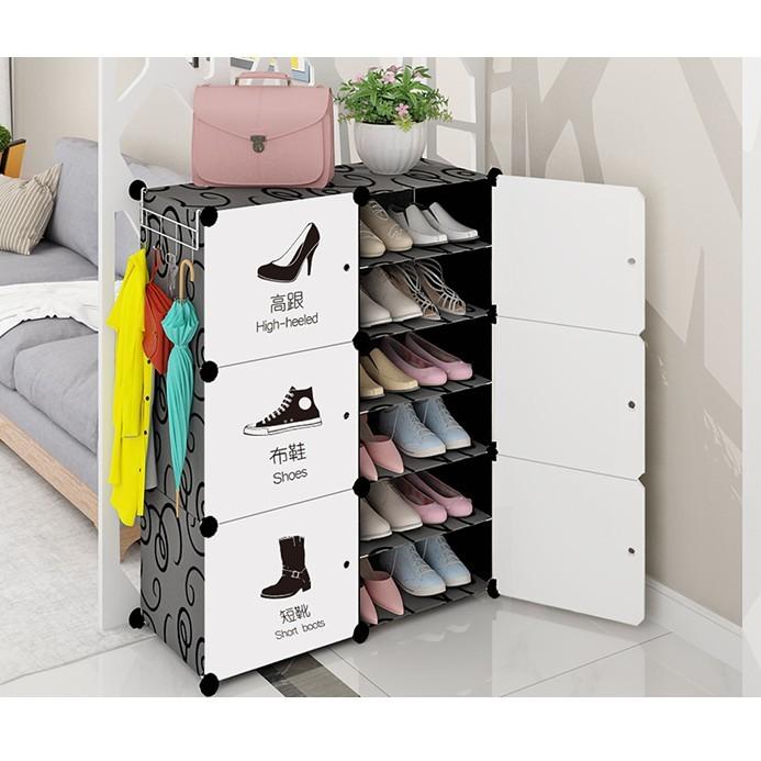 免運費 鞋櫃 簡易 塑料 組裝門口鞋架子多層宿舍經濟型省空間家用防塵多功能 - 2列6層