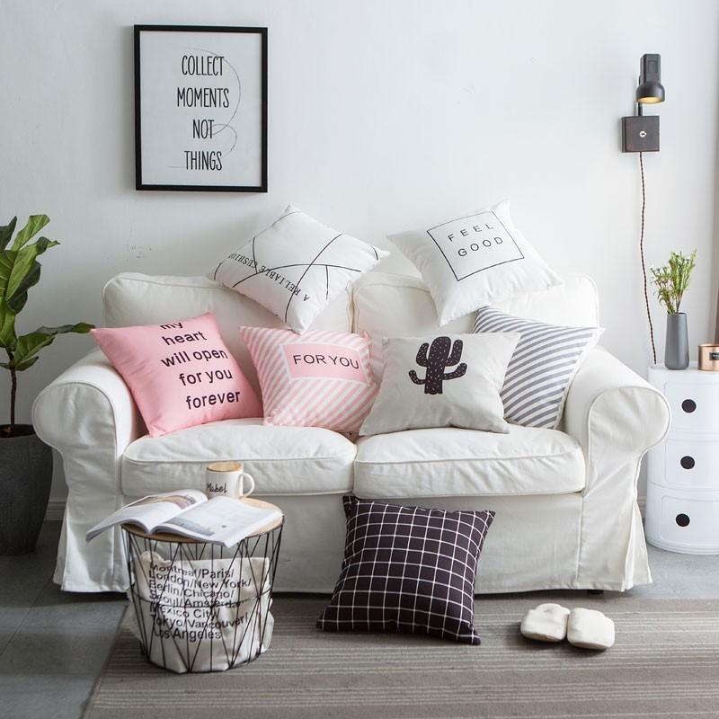 #免運#抱枕含芯現代簡約風英文條格數碼印花家居靠墊沙發靠墊抱枕含芯新品