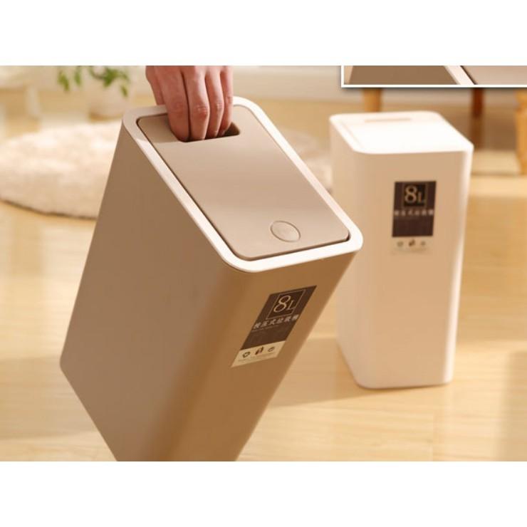 一件免運 垃圾桶 家用客廳臥室衛生間 有蓋 創意大號 長方形廚房廁所 帶蓋紙簍筒 按壓式桶 收納桶