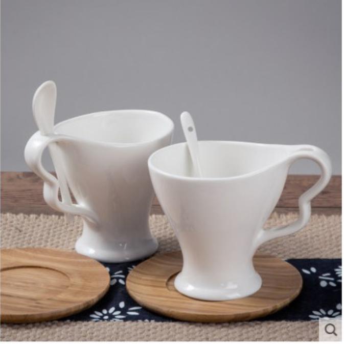 日式陶瓷杯子馬克杯帶蓋勺咖啡杯潮流情侶杯家用男女水杯漱口杯子
