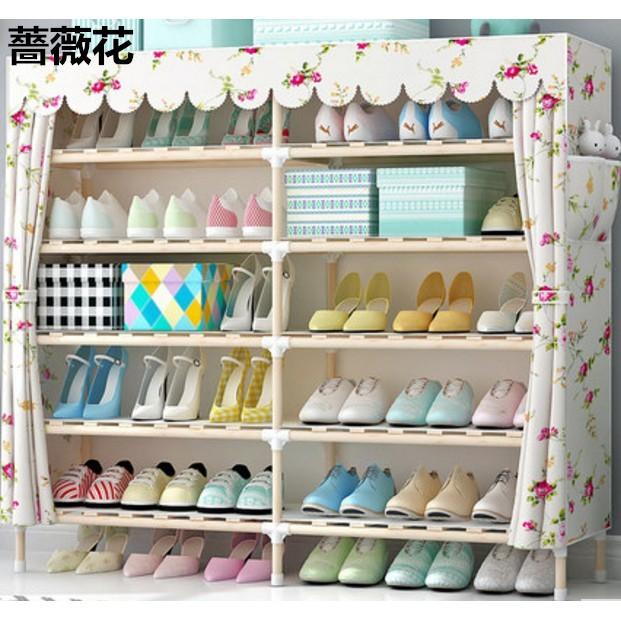 一件免運 簡易收納鞋架子布藝 實木多層防塵現代組裝牛津布鞋櫃經濟型家用