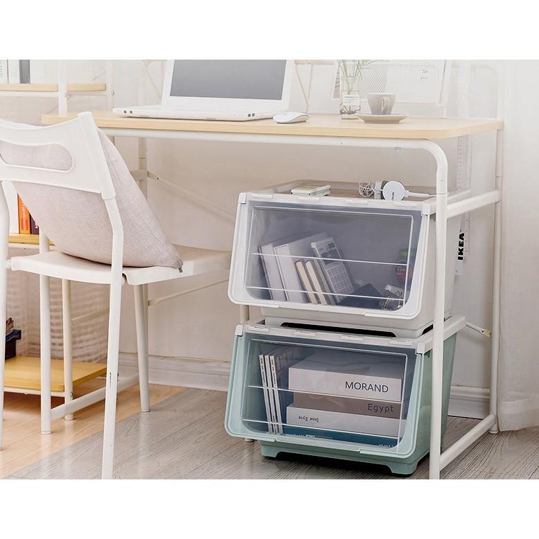 免運  收納盒 零食 側開 兒童 玩具儲物箱 收納筐 整理箱 前開式 衣服 塑膠 收納箱 置物箱 置