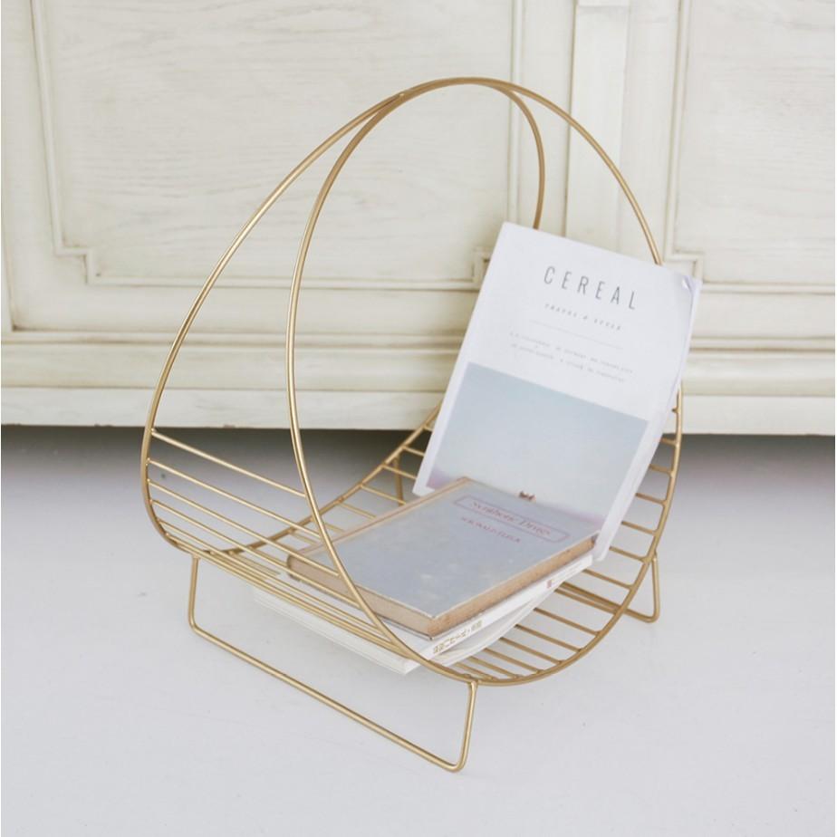 現代 簡約移動 落地 桌面 小書架 置物架  鐵藝 迷你桌上 圓形 雜志架