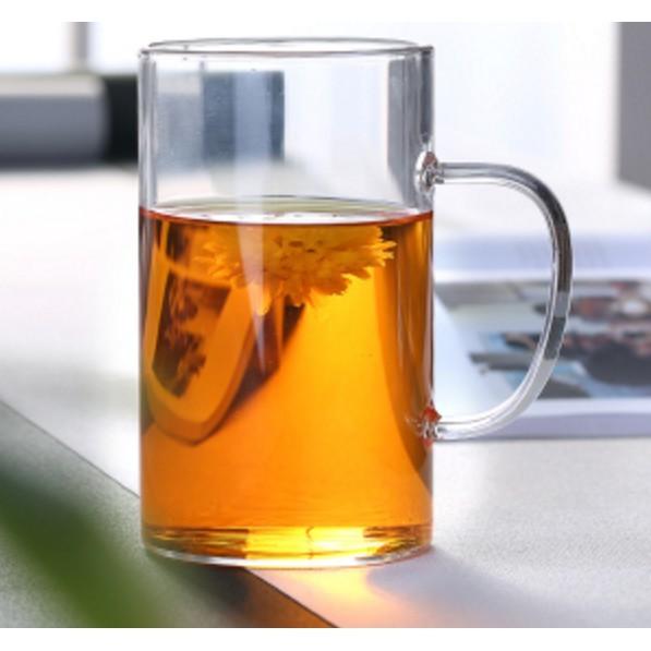 一件免運 家用加厚耐熱玻璃杯子花茶杯水杯可愛帶蓋把茶杯辦公室過濾泡茶杯