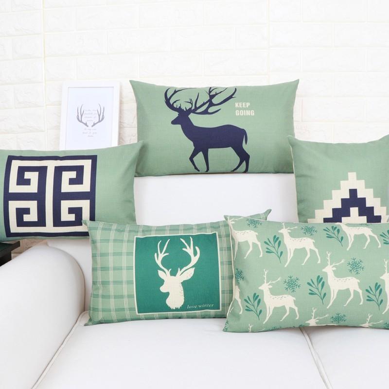 北歐小鹿  數碼印花抱枕 腰枕抱枕靠墊辦公室腰靠枕沙發座椅子護腰墊背長方形 居家裝飾 咖啡廳裝飾