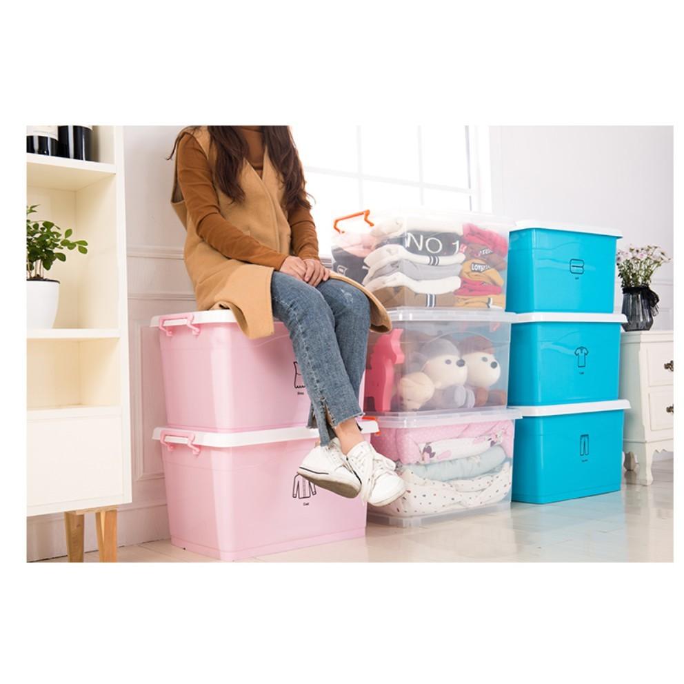 爆款 超值 衣服  收納盒  特大號 透明 收納箱 塑料 儲物整理箱子兒童玩具  批發三件套 - 超