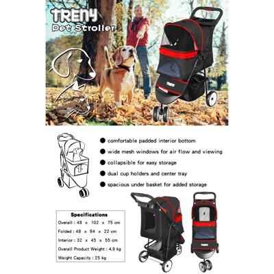 treny直營treny 快速收合 高級寵物推車-紅 附杯架跟置物籃 狗推車 貓推車 外出旅行 (10折)