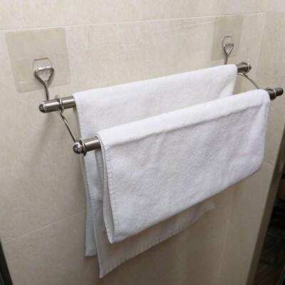 促銷(雙桿)毛巾架50cm(SGS認證304不鏽鋼)凹凸.紋路牆面可貼(超黏貼) 熊好貼 無痕掛勾 (9.8折)