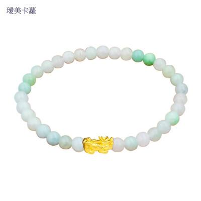 卡蘿珠寶 999足金黃金貔貅玉石手鍊 (6.5折)