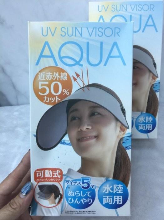 日本 aqua抗uv 360度 可動式涼感防曬降溫 遮陽帽