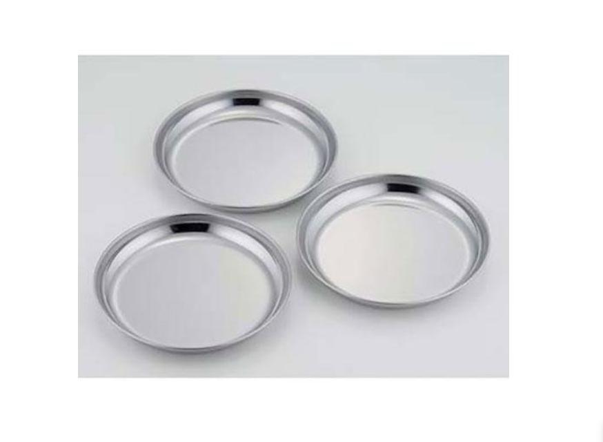 日本製不鏽鋼圓淺型料理盤 備料盤 露營 野餐 3枚組入