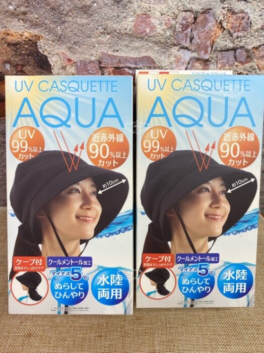 日本 aqua 抗uv99% 涼感 防曬 可折疊 可調整 遮脖帽 護頸 遮陽帽 附有綁繩