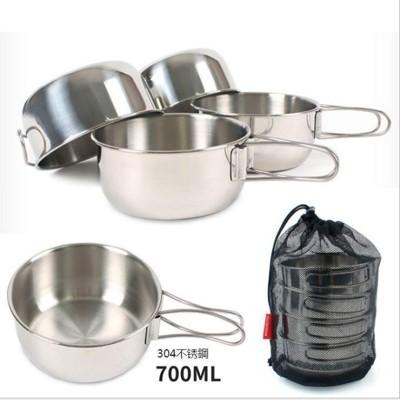 戶外餐具 野炊用品 露營用品戶外露營野炊碗4件套304不鏽鋼(大)700ML (贈收納袋) 戶外鍋具 (7.7折)