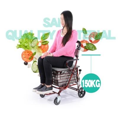 ~老年代步車折疊購物車座椅可坐四輪買菜助步可推小拉車老人手推車 - A-簡約款+手剎-米白色 (6.3折)