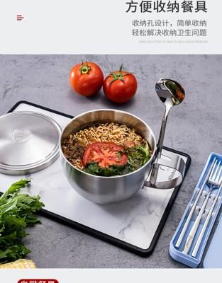 定制 刻字 韓國 雙層 304 不銹鋼 泡麵碗 帶蓋 學生 宿舍 碗筷套裝 帶蓋 麵碗 飯碗湯碗 (6.9折)