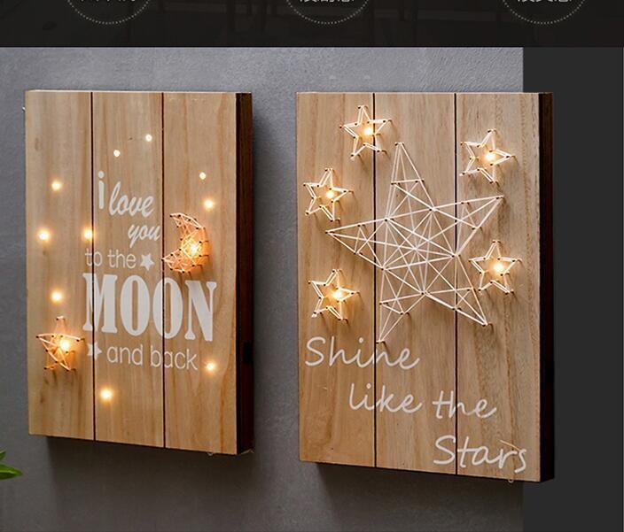 夢幻棉線造型led柔光情調木板掛畫 -五角星