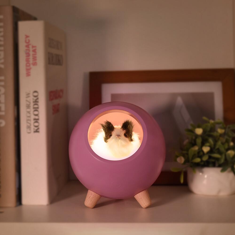 可愛倉鼠小夜燈觸控夜燈-夢幻紫