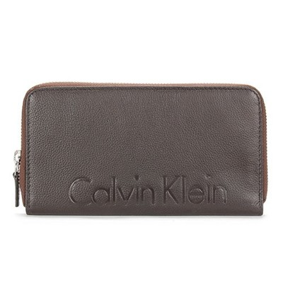 【真品保證】Calvin Klein CK荔枝皮革壓印LOGO拉鍊長夾皮夾(咖啡色)送禮禮物自用皆可 (4.5折)