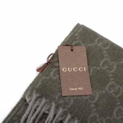 【真品保證】GUCCI 經典雙G-LOGO 100%喀什米爾羊毛圍巾(軍綠色) (9.2折)