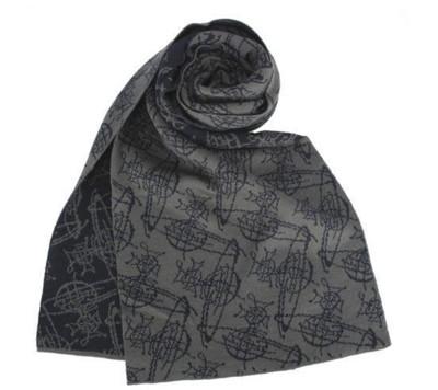 【真品保證】Vivienne Westwood 雙色滿版草寫星球圖樣圍巾(灰/深藍色,淺灰/黑色) (5.5折)