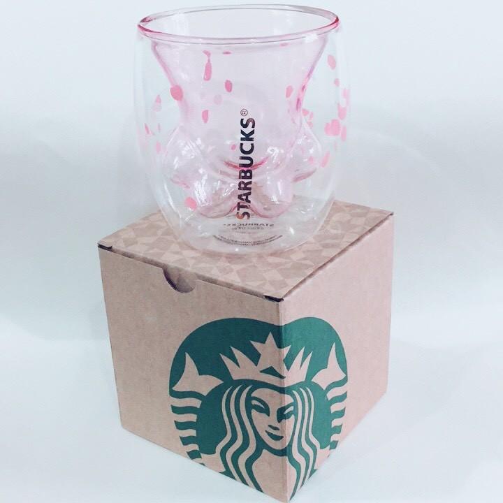 【櫻花貓爪杯】(現貨)星巴克同款雙層加厚透明玻璃水杯可裝熱飲(星巴克紙盒)母親節情人節