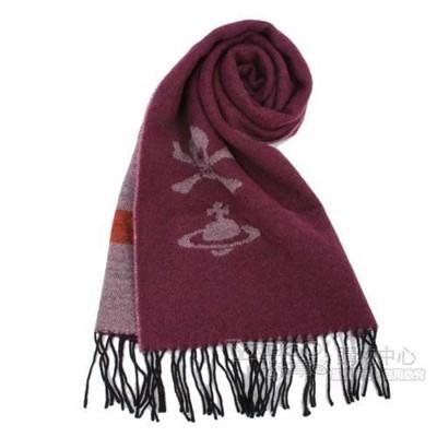 【真品保證】Vivienne Westwood 經典LOGO 骷顱頭素色圍巾(棗紅色/灰褐色) (6.2折)