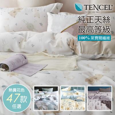 天絲床包 100%頂級天絲 萊賽爾雙人5x6.2尺 兩用被床包四件組0430