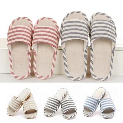 亞麻橫條紋室內拖鞋 (1.3折)
