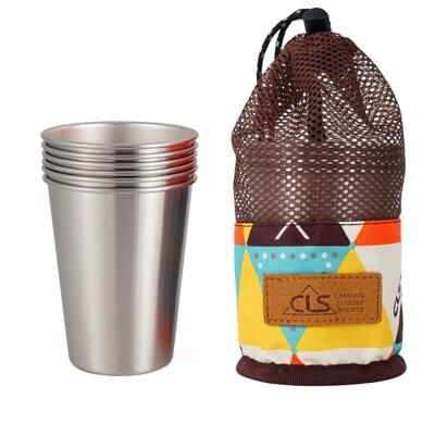 【贈收納袋】304不鏽鋼6件組(可堆疊) 啤酒杯 咖啡杯 隔熱杯 不鏽鋼杯 野餐 露營用品 戶外 (8.7折)