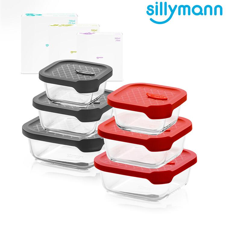 韓國sillymann正方型家庭六件組-100%鉑金矽膠微波烤箱輕量玻璃保鮮盒組