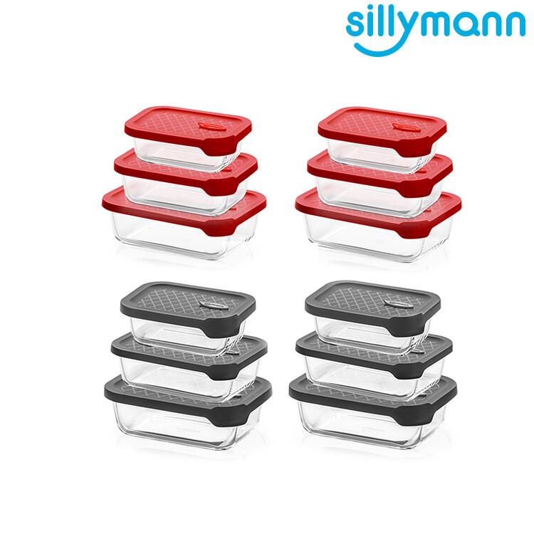 韓國sillymann長方型家庭六件組-100%鉑金矽膠微波烤箱輕量玻璃保鮮盒組