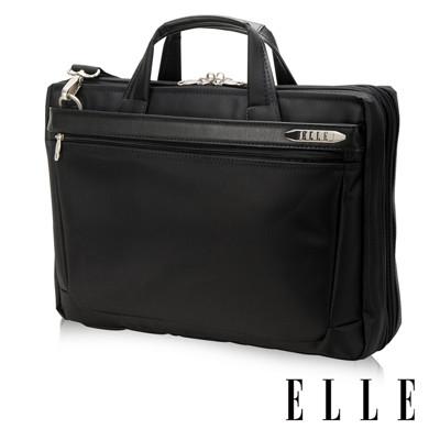 ELLE HOMME 紳士皮革14吋公事包單拉鍊風琴雙層置物款- 黑色EL74164A (7折)