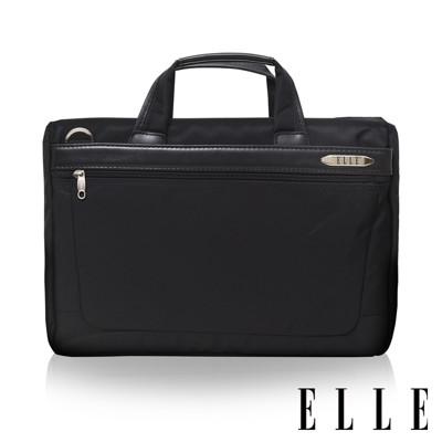 ELLE HOMME 第二代輕量尼龍 x 皮革單拉鍊14吋筆電收納兩用公事包-黑色 EL74164B (7折)