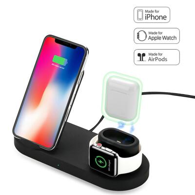 apple watch AirPods iphone三合一無線充電器 台灣NCC認證 Qi無線充電 (4.1折)
