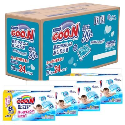 日本大王境內版 99%純水嬰兒護膚薄型濕紙巾70枚【24包 / 1680枚】 (5折)