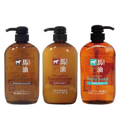 日本 KUM熊野油脂 馬油無矽靈洗髮精/潤髮乳/沐浴乳 600ML (5折)