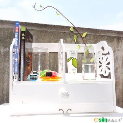【Osun】DIY木塑板 白色雕花櫻花書架(CE178-YH40) (3.9折)