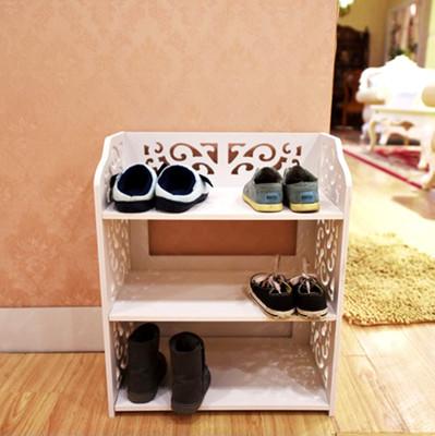 【Osun】DIY木塑板白色雕花三層鞋架(CE178-XJ001) (4.2折)