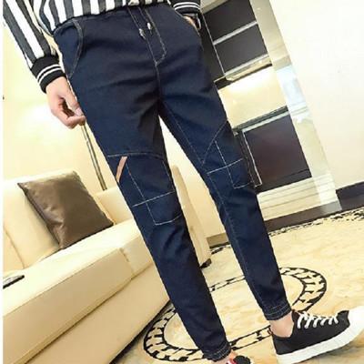 彈力鬆緊帶縮口牛仔褲L03364DB深藍色 (2.7折)