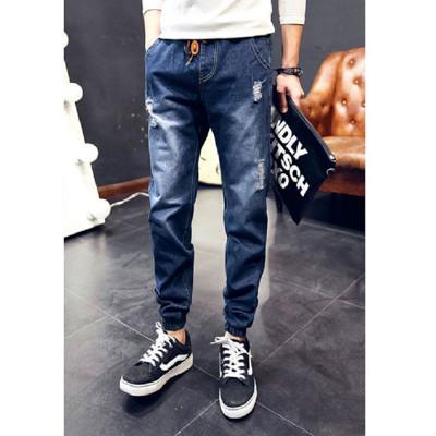 鬆緊帶縮口牛仔褲L83893B深藍色/HB淺藍色 (2.5折)
