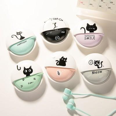 可愛黑貓 入耳式耳機麥克風 旋轉收納盒 免持聽筒 手機 隨身聽 MP3 適用 (3.4折)
