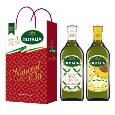【Olitalia奧利塔】特級冷壓橄欖油+葵花油禮盒組(1000ml各1) (8.9折)