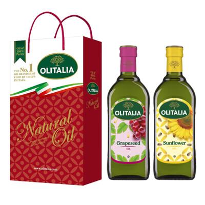 【Olitalia奧利塔】葡萄籽油+葵花油禮盒組(1000ml各1) (8.7折)