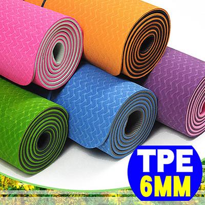 環保TPE 6MM雙色瑜珈墊(加長版)(贈送瑜珈背袋) C155-159 (4.6折)