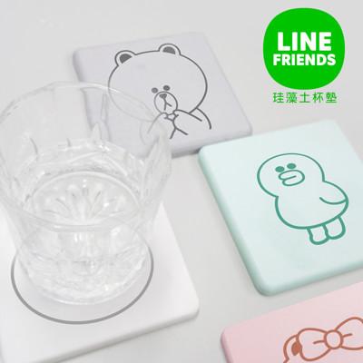 【LINE FRIENDS】和風珪藻土吸水杯墊 8款任選(一組=2入同款式) (5.8折)