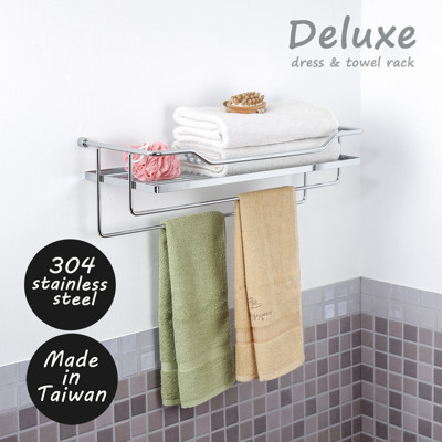 KingJET 304不鏽鋼鍍鉻豪華型毛巾置物架/置物/浴室/收納/毛巾置物 S220011 MIT (7.3折)