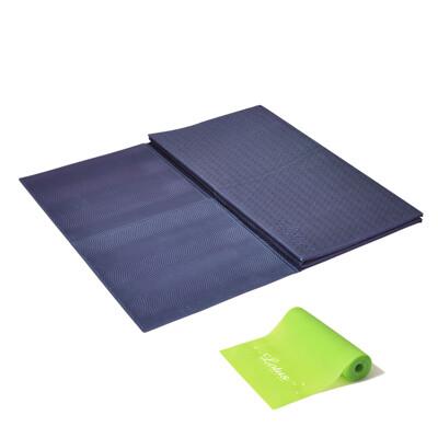 【LOTUS】台灣製環保歐規TPE專業加寬雙摺疊瑜珈健身墊5mm 贈瑜珈彈力帶+瑜珈墊防塵袋